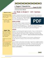 Grade 8 LS Newsletter 8.19.11
