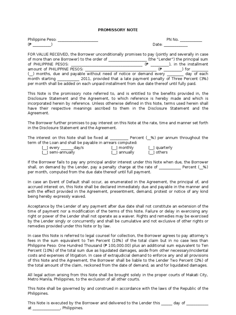 Sample Promissory Note Promissory Note – Sample of a Promissory Letter