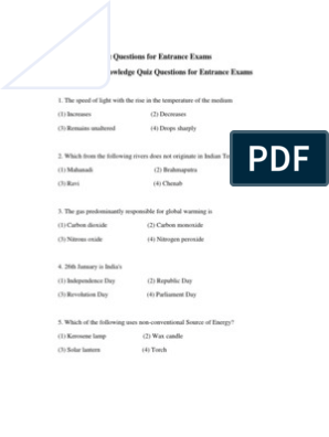 100 General Knowledge Quiz Questions for Entrance Exams
