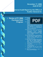 Internal Audit Repor FY2006 Purchase Card Audit 07-047