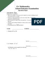 13+ Mathematics the Perse School Entrance Examination