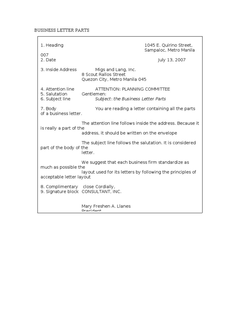 8 parts of business letter