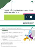 Le Crédit Conso en Europe fin 2010