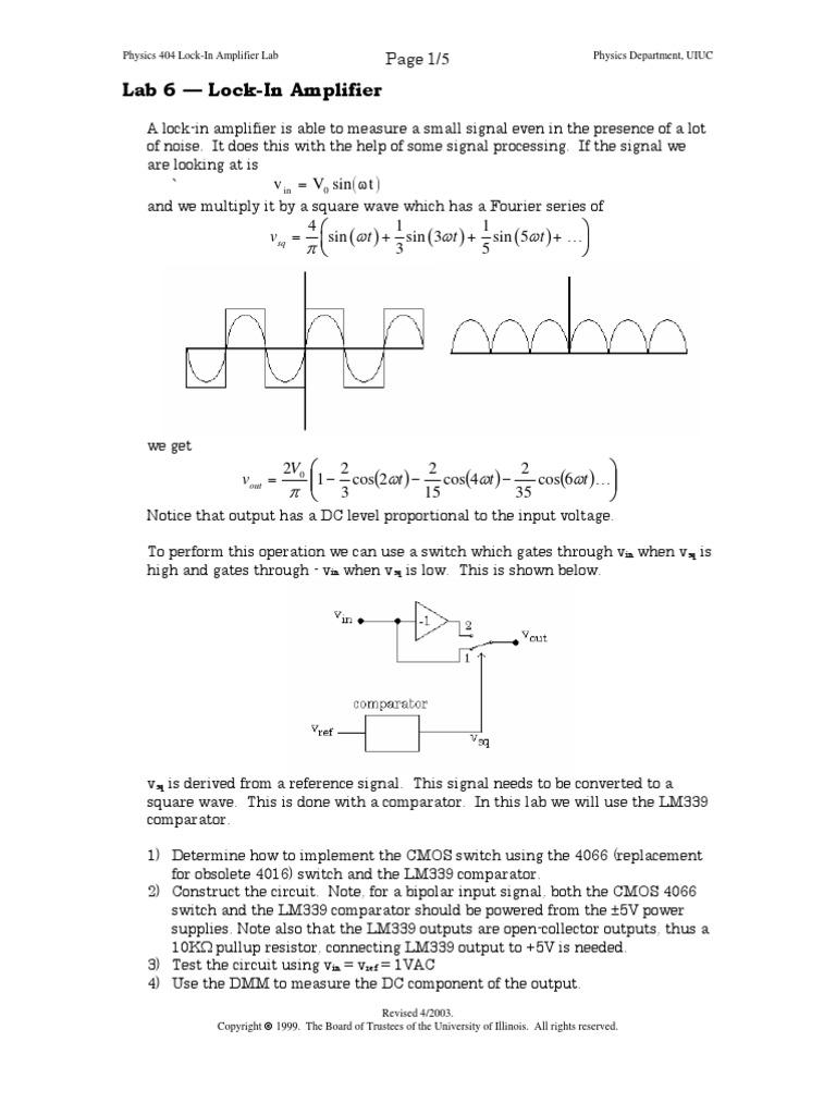 Lab 6 Lock In Amplifier Electrical Engineering Lockin Amplifierj