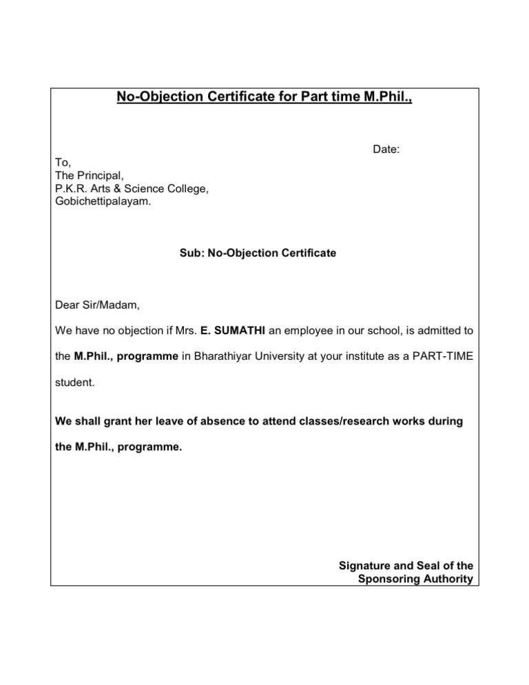 No Objection Certificate  No Objection Letter Format For Employee