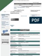 HP Compaq 4000 Pro PC compacta (LK557LT)especificaciones - HP Pequeñas y Med