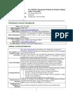 UT Dallas Syllabus for ba3360.5e1.11f taught by Monica Brussolo (meb049000)
