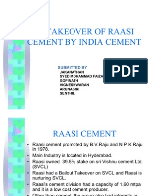 29032968 the Takeover of Raasi Cement | Takeover | Mergers