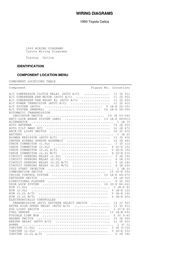 Toyota Celica Wiring Diagram 1993 Detailed Schematics 2000 Exhaust System