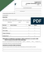Academic Internship Application - Newsday 2012