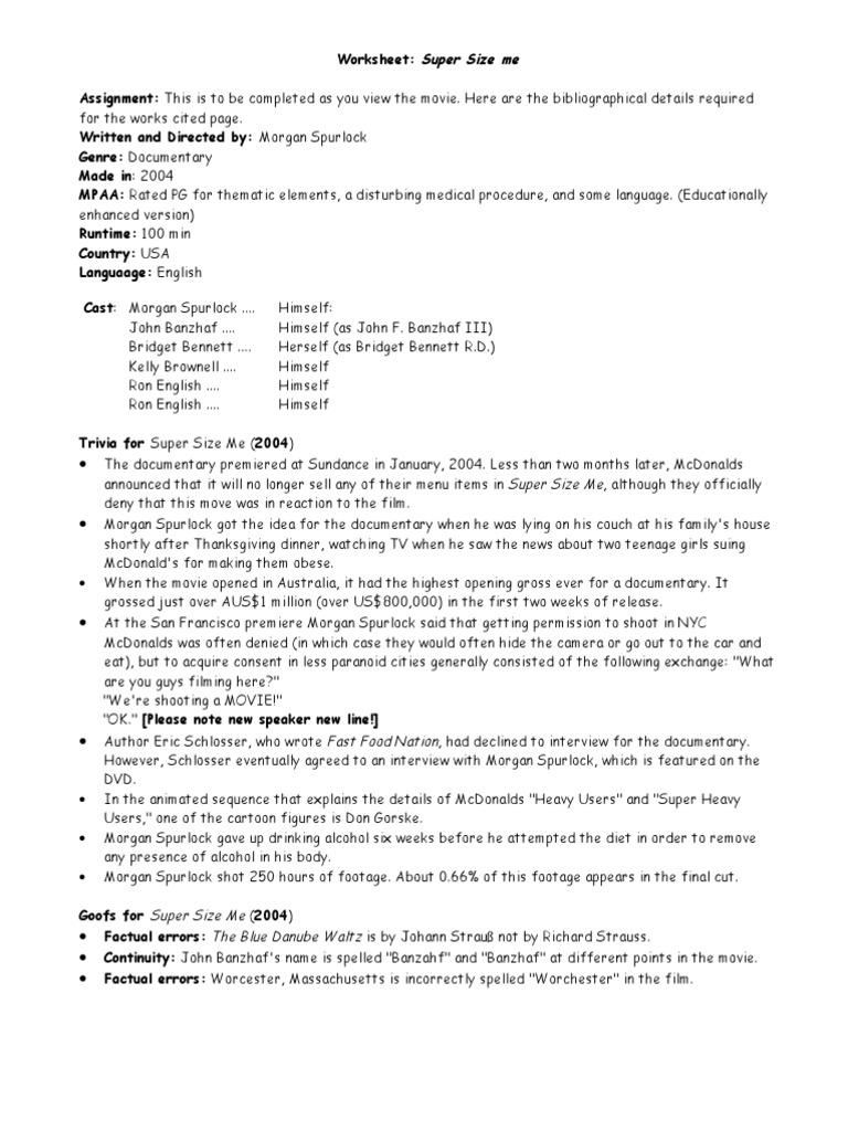 worksheet Supersize Me Worksheet Answers super size me worksheet 1 food wine and drink