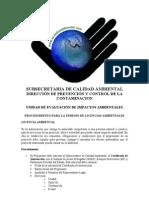 Procedimiento Licencia Ambiental Ministerio