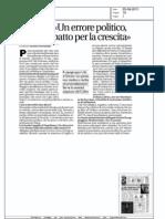 """Gianpiero D'Alia:""""Un errore politico, la via è il patto per la crescita"""" - Avvenire 25.08.11"""