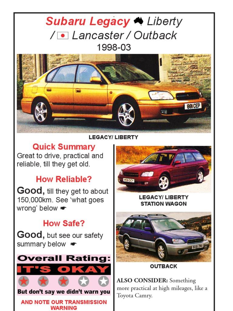 Subaru Legacy Liberty Lancaster Outback 1998-03 | Transmission (Mechanics)  | Automatic Transmission
