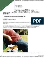 UK Obesity-NHS Spending 8% of Total Medicines Bill Treating Diabetes