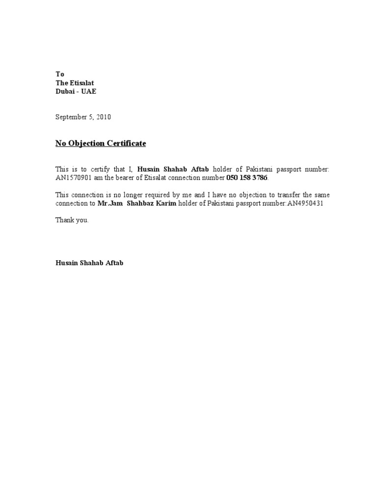No Objection Certificate – No Objection Format