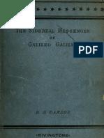 Galileo Sidereal Messenger
