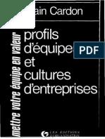 Profils d Equipe Et Cultures d Entreprises a Cardon