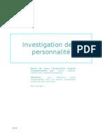 Investigation de La Personnalite-Dino
