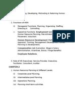 Summary of Human Resource Management