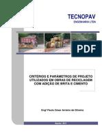 Criterios e parâmetros de projeto utilizados em reciclagem