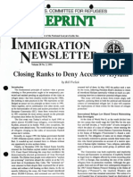 """""""Closing Ranks to Deny Access to Asylum,"""" Bill Frelick, Immigration Newsletter (National Lawyers Guild), 20:3 (1992), 1-28."""