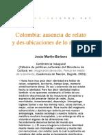 Colombia. Ausencia de relato y desubicaciones de lo popular