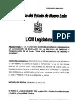 Iniciativa de Reforma a la Ley Federal de Armas de Fuego y Explosivos y a la Ley del Sistema Especial de Justicia para Adolescentes del Estado de Nuevo León