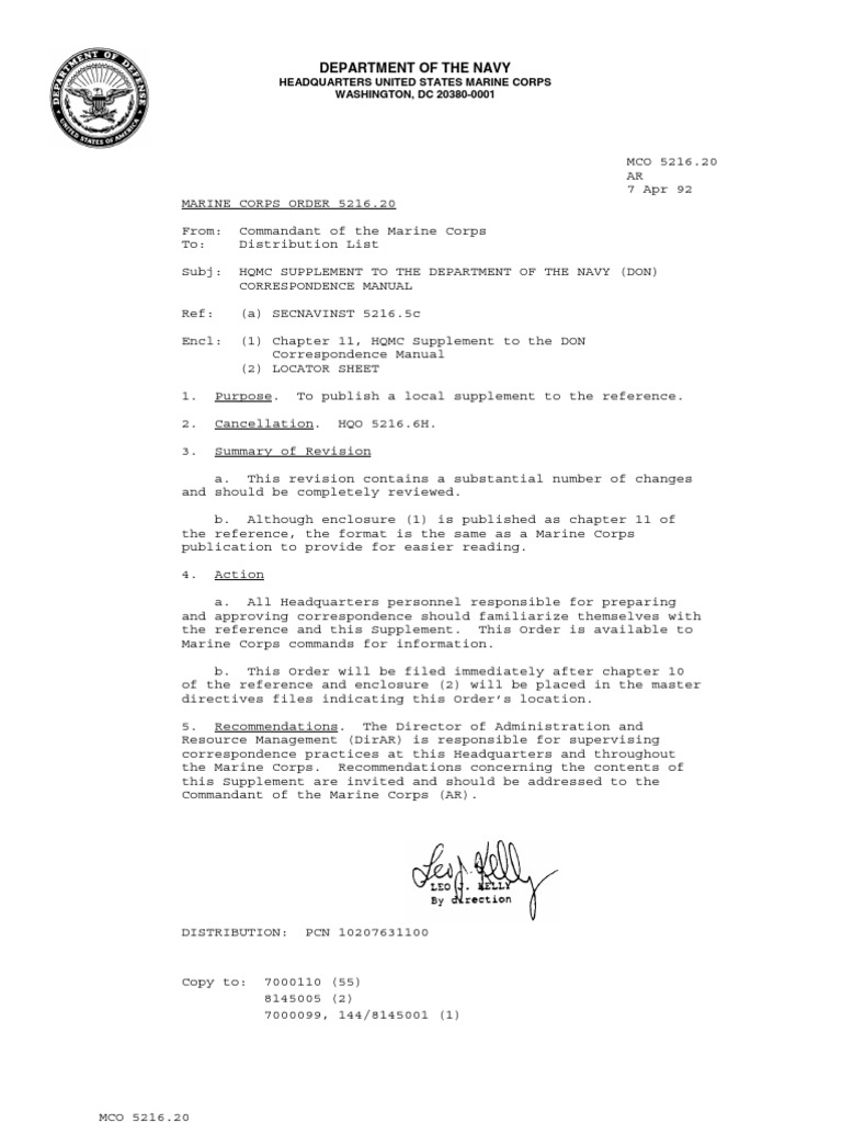 MCO 5216.20 CorrespondenceSupplement | Staff (Military) | United States  Marine Corps