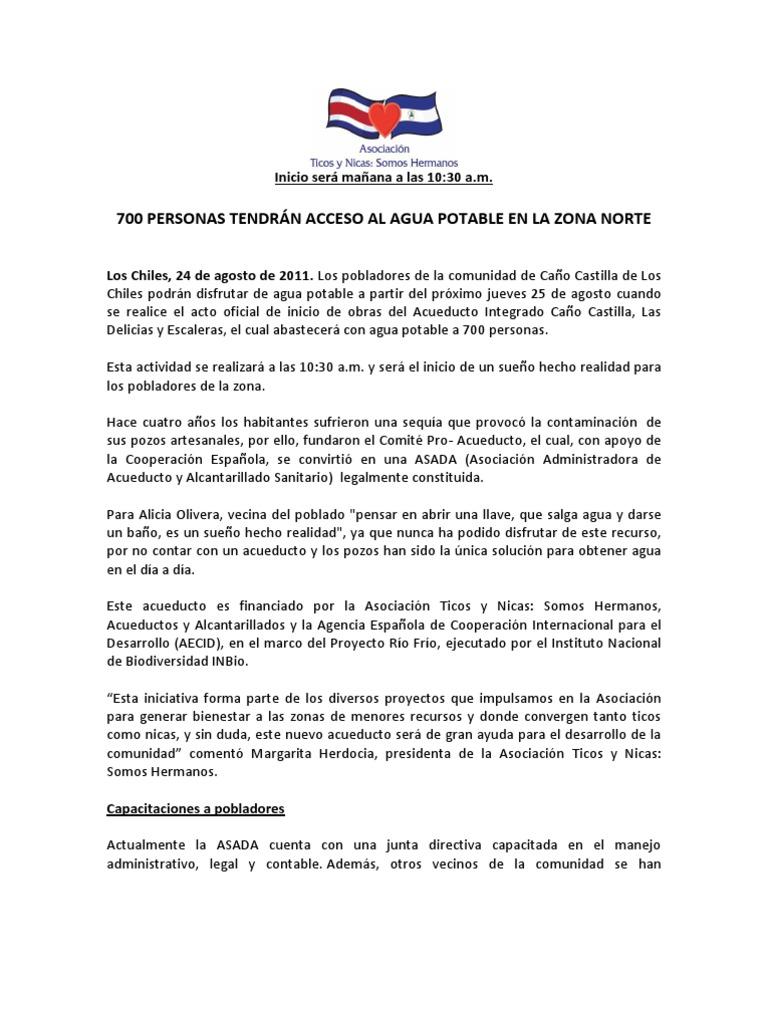 Comunicado de prensa Inauguración Acueducto Caño Castilla