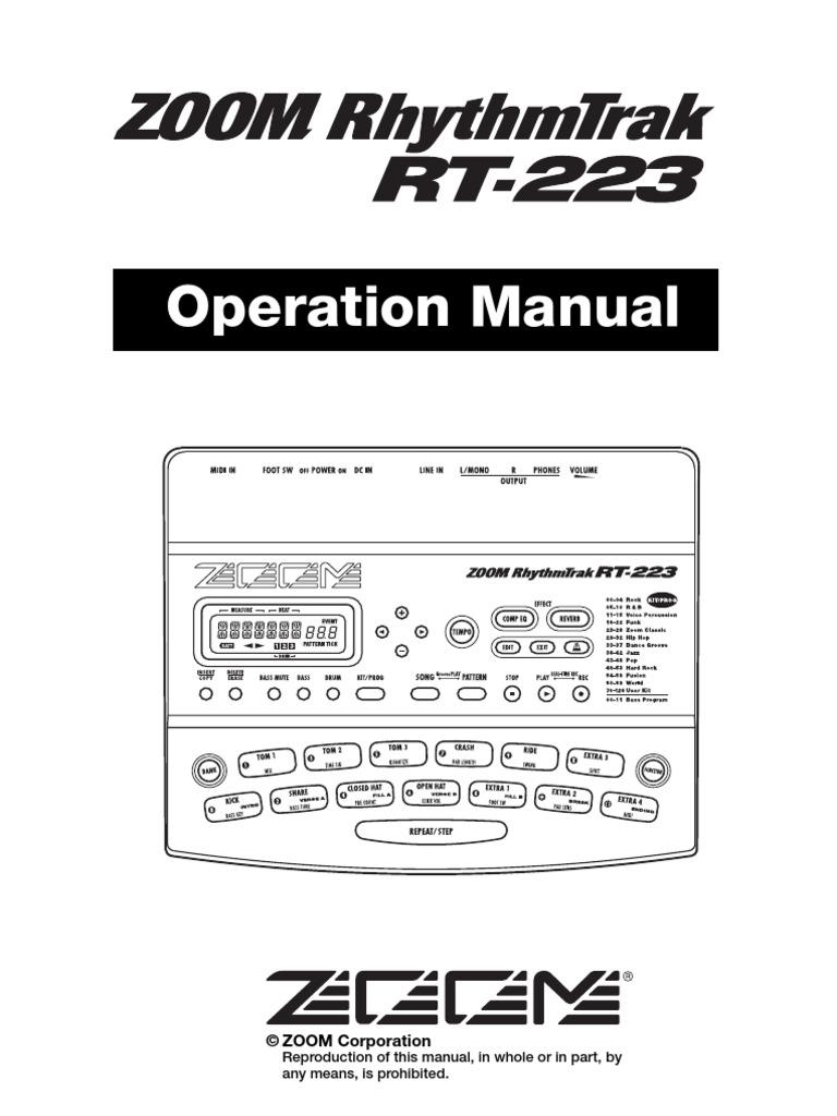 ZOOM RT-223 RHYTHMTRAK DRUM MACHINE MANUAL /& POWER SUPPLY