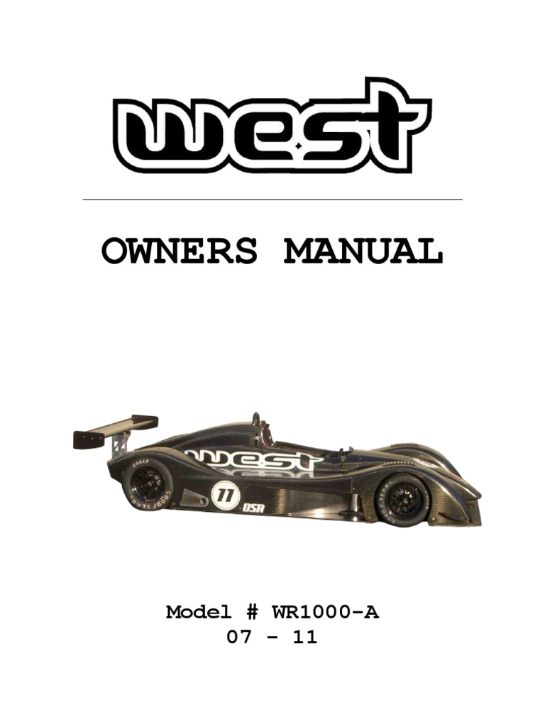 2011 West WR1000 Owners Manual Version_AU 3.1