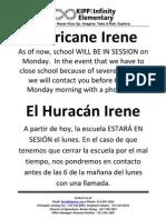 Hurricane Irene Notice