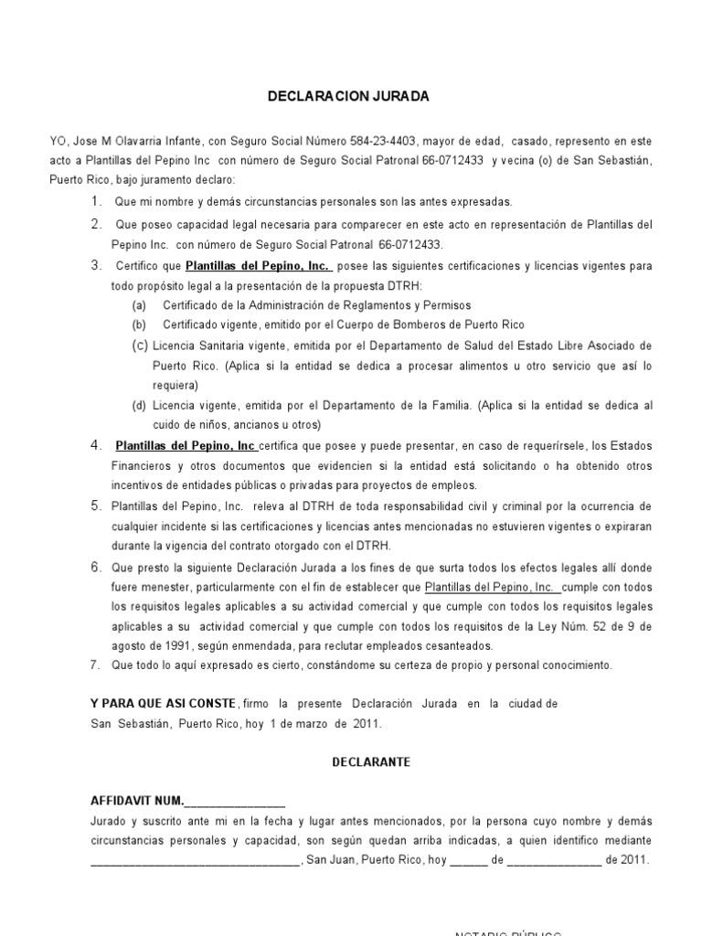 DECLARACION JURADA MODELO