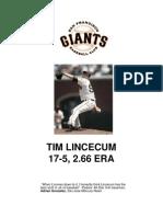 SF Giants Tim Lincecum Notes (First Season)