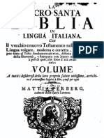 La Sacro Santa Biblia in Lingua Italiana, Mattia d'Erberg, cultore delle sacre lettere 1712