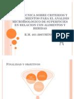 Criterios y Procedimientos para Realizar Analisis Microbiologicos sobre Superficies