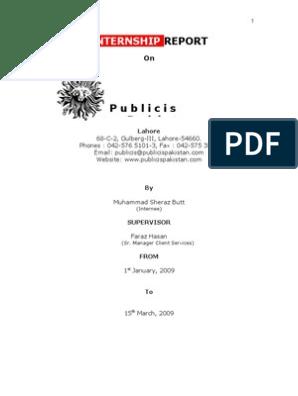 Internship Report | Marketing Communications | Advertising