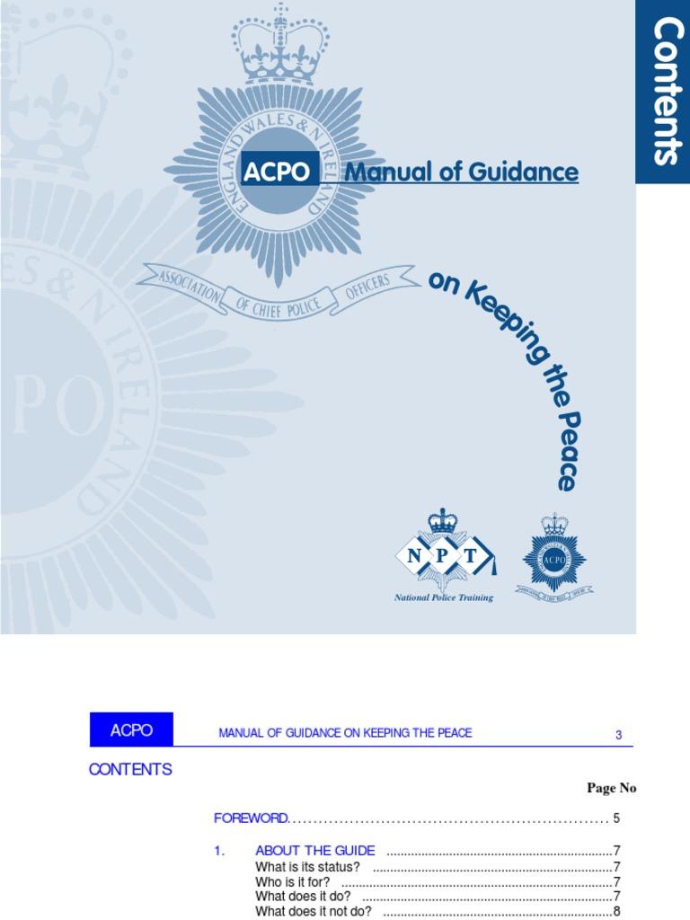 acpo manual of guidance keeping the peace
