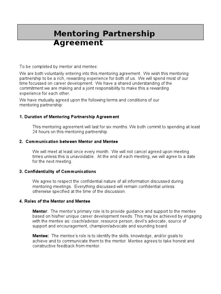 Mentoring Partnership Agreement Mentorship Confidentiality