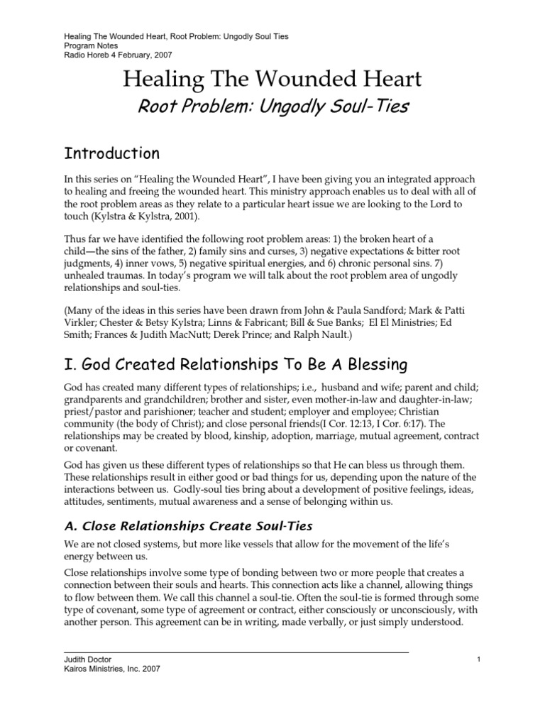 Healing the Broken Heart Part VIII Ungodly Soul Ties