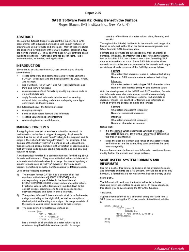 Sas Informats   Sas (Software)   Function (Mathematics)