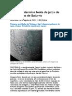 Cassini Determina Fonte de Jatos de Gelo Em Lua de Saturno