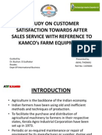 A STUDY ON CUSTOMER SATISFACTION TOWARDS AFTER SALES SERVICE WITH REFERANCE TO KAMCO'S FARM EQUIPMENTS