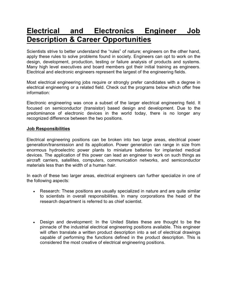 Electrical And Electronics Engineer Job Description