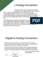 Digital to Analog Conversion