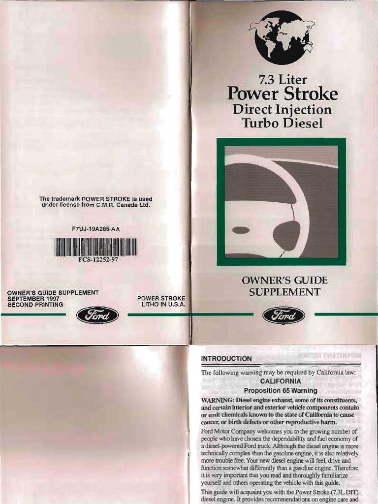 1997 Ford F250 Powerstroke 73 Liter Turbodiesel Engine Driver Side