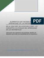 Elementos Que Inciden en El Aprendizaje de Las Matematicas.doc as y Educacion Indigena i 6o Semestre Upn