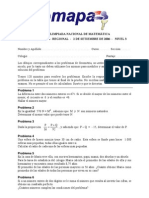 18° Olimpiada Nacional de Matemática OMAPA - Ronda Regional - 2006 - Nivel 3