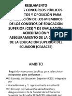 REGLAMENTO  CONC PÚBL DE MÉRI Y OPOSSELECCIÓN  MIEMBROS  CONSEJOS DE EDUCACIÓN SUPERIOR
